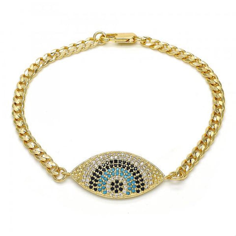 Gold Layered 03.233.0007.08 Fancy Bracelet, Flower Design, with Multicolor Micro Pave, Polished Finish, Golden Tone