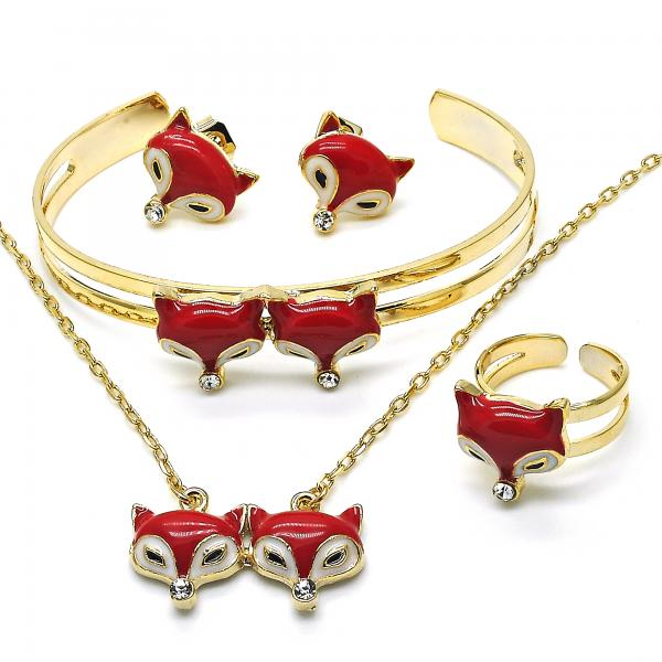 Gold Layered 06.65.0144 Earring and Pendant Children Set, with White Crystal, Red Enamel Finish, Golden Tone