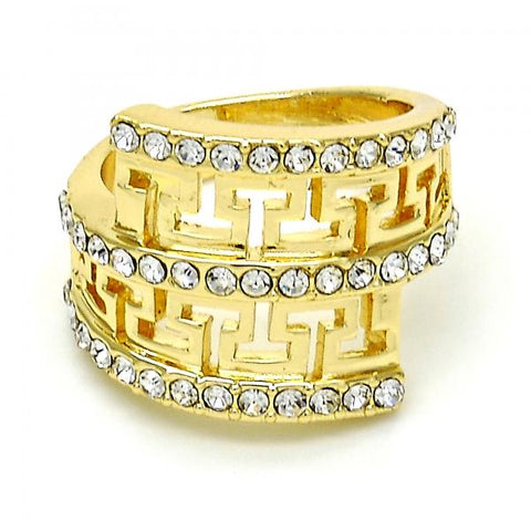 Gold Layered Multi Stone Ring, Greek Key Design, with Crystal, Golden Tone