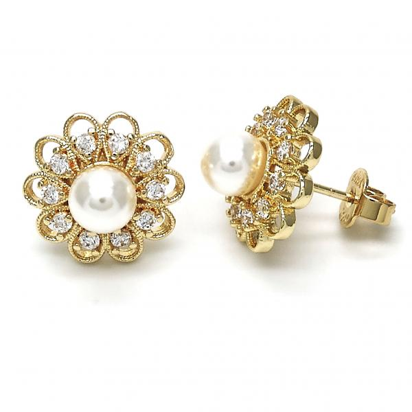 Gold Layered 02.156.0224 Stud Earring, Flower and Ball Design, with Ivory Pearl and White Cubic Zirconia, Polished Finish, Golden Tone