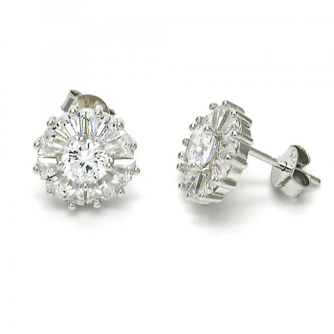Sterling Silver 02.175.0111 Stud Earring, with White Cubic Zirconia, Polished Finish, Rhodium Tone