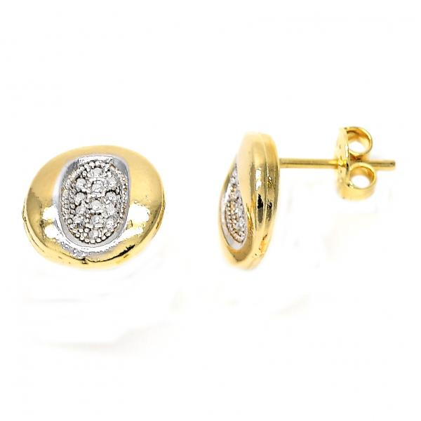 Gold Layered 02.55.0028 Stud Earring, Polished Finish, Two Tone
