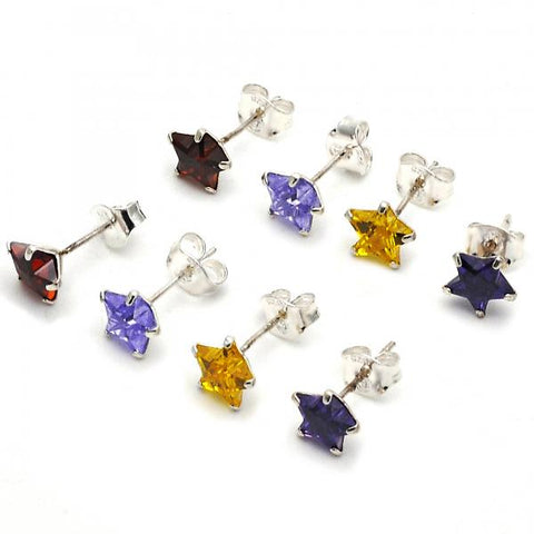 Sterling Silver Stud Earring, Star Design, with Cubic Zirconia,
