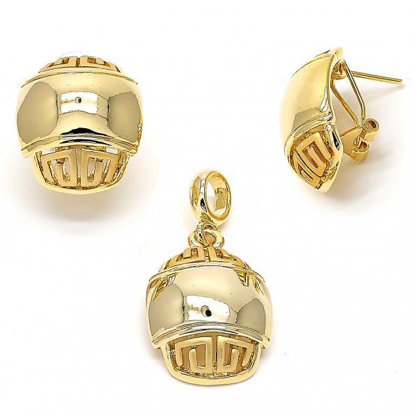 Gold Layered 10.59.0192 Earring and Pendant Adult Set, Greek Key Design, Polished Finish, Golden Tone
