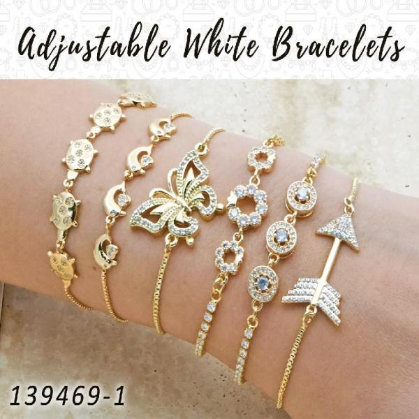 18 Adjustable White Bracelets in Gold Layered ($5.55) ea
