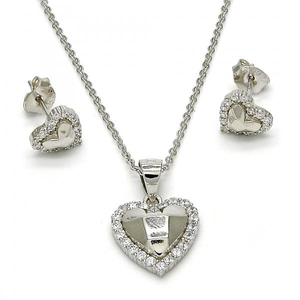 Sterling Silver 10.285.0001 Earring and Pendant Adult Set, Heart Design, with White Cubic Zirconia, Diamond Cutting Finish, Rhodium Tone