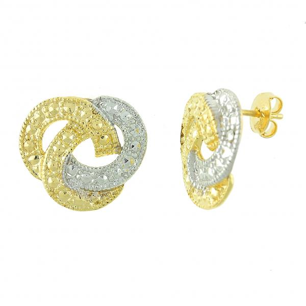 Gold Layered 02.55.0003 Stud Earring, Love Knot Design, Diamond Cutting Finish, Two Tone