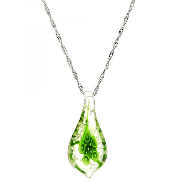 Gold Tone 04.276.0017.18.GT Pendant Necklace, Flower Design, with Green Azavache, Polished Finish, Rhodium Tone