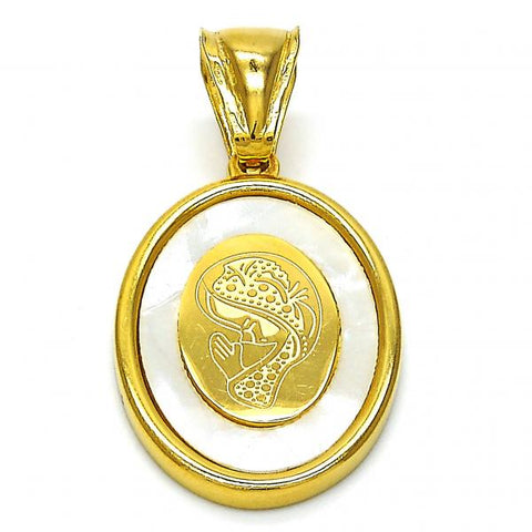 Stainless Steel 05.300.0004 Religious Pendant, Guadalupe Design, with Ivory Mother of Pearl, Polished Finish, Golden Tone