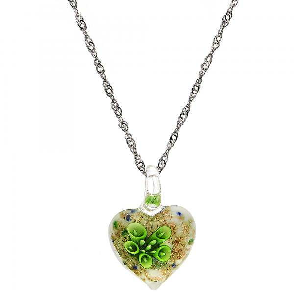 Gold Tone 04.276.0014.18.GT Pendant Necklace, Heart and Flower Design, with Green Azavache, Polished Finish, Rhodium Tone