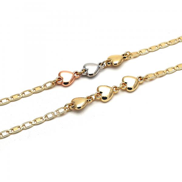 Gold Layered Fancy Anklet, Heart Design, Golden Tone
