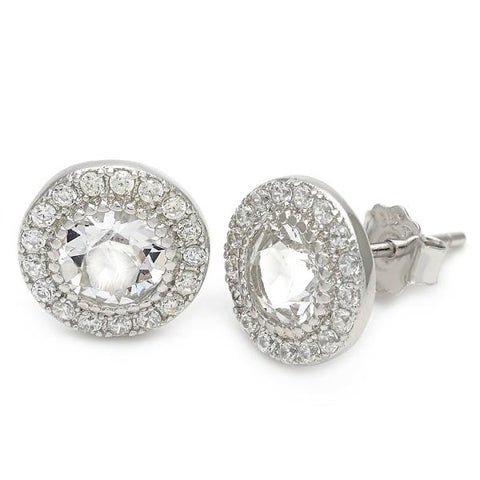Sterling Silver Stud Earring, with Swarovski Crystals, Silver Tone