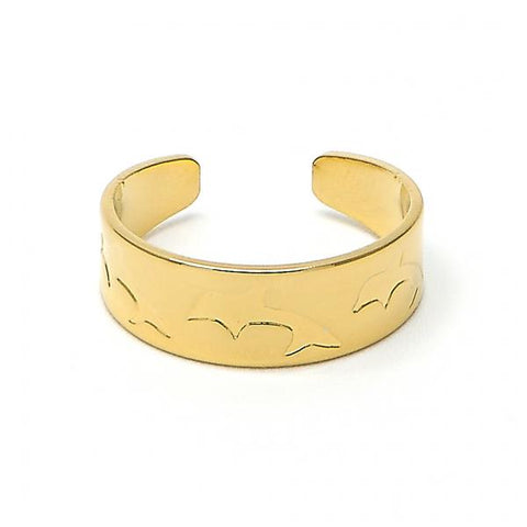 Gold Layered 01.117.0002 Toe Ring, Dolphin Design, Diamond Cutting Finish, Gold Tone (One size fits all)