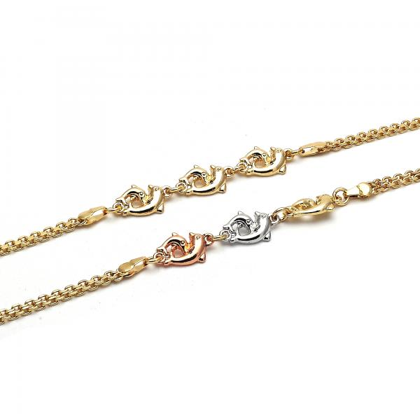 Gold Layered Fancy Anklet, Dolphin Design, Golden Tone
