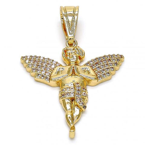 Gold Layered 05.120.0042 Religious Pendant, Angel Design, with White Micro Pave, Polished Finish, Golden Tone