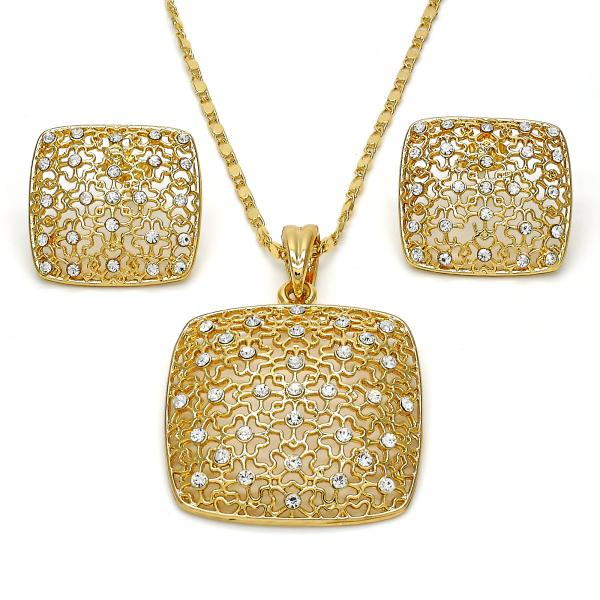 Gold Layered 10.273.0004 Earring and Pendant Adult Set, with White Crystal, Polished Finish, Golden Tone