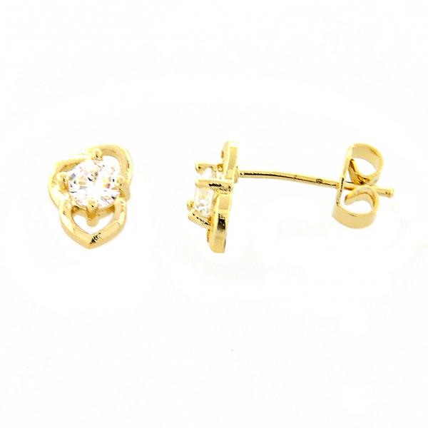 Gold Layered 02.165.0169 Stud Earring, Flower Design, with White Cubic Zirconia, Golden Tone
