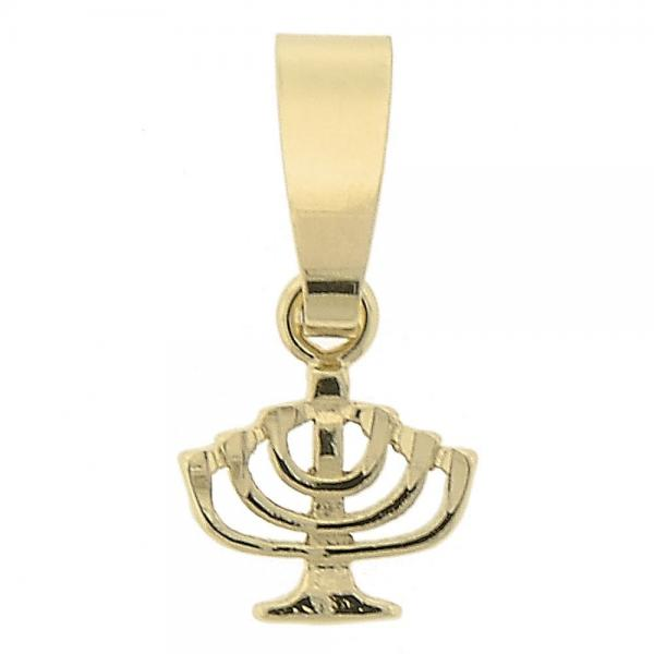 Gold Layered 5.187.006 Religious Pendant, Cross Design, Diamond Cutting Finish, Golden Tone