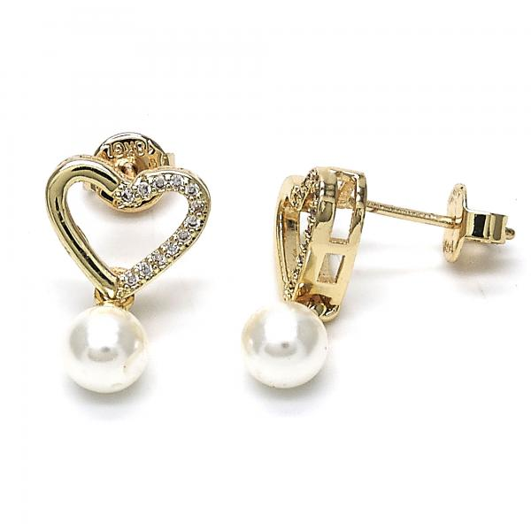 Gold Layered 02.156.0221 Dangle Earring, Heart and Ball Design, with Ivory Pearl and White Cubic Zirconia, Polished Finish, Golden Tone
