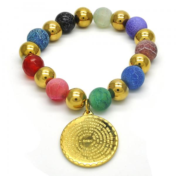 Stainless Steel 03.324.0001.07 Charm Bracelet, Ball Design, with Garnet Crystal, Polished Finish, Golden Tone