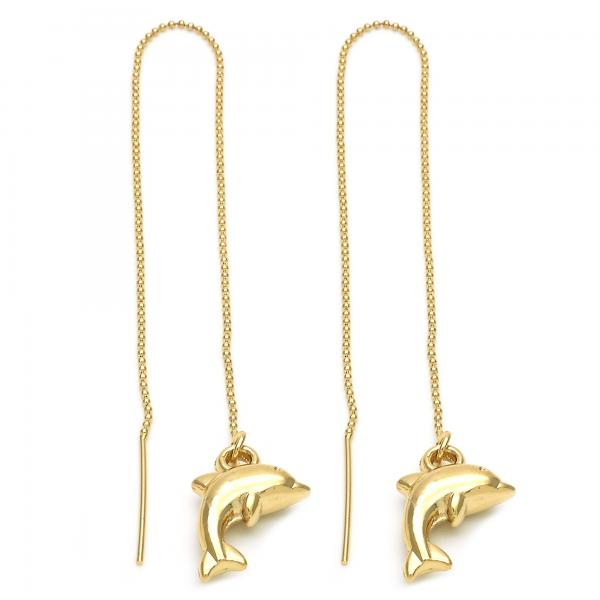 Gold Layered 5.117.003 Threader Earring, Dolphin Design, Golden Tone