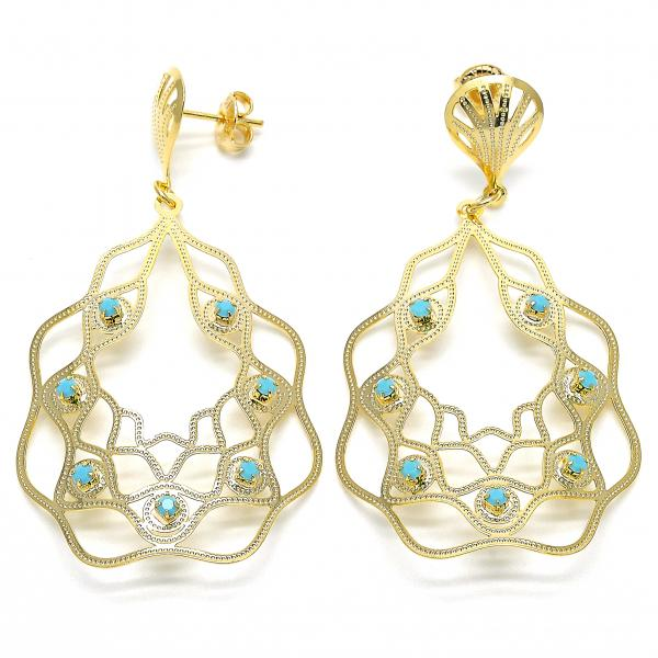 Gold Layered 02.09.0090 Dangle Earring, with Aquamarine Opal, Polished Finish, Golden Tone