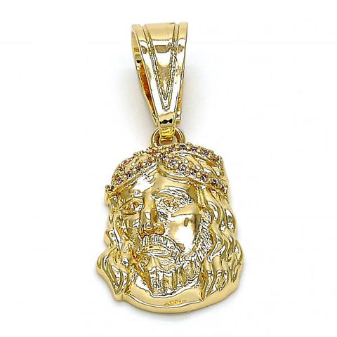 Gold Layered 05.120.0031 Religious Pendant, Jesus Design, with White Micro Pave, Polished Finish, Golden Tone