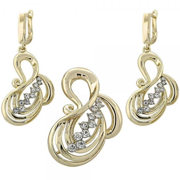 Gold Layered 10.91.0211 Earring and Pendant Adult Set, with  Cubic Zirconia, Golden Tone