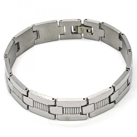 Stainless Steel 03.114.0298.08 Solid Bracelet, Polished Finish, Steel Tone