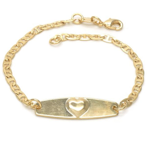 Gold Layered 03.32.0103.06 ID Bracelet, Heart and Mariner Design, Polished Finish, Golden Tone