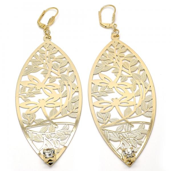 Gold Layered 068.003 Dangle Earring, Leaf and Dragon-Fly Design, with White Crystal, Diamond Cutting Finish, Golden Tone