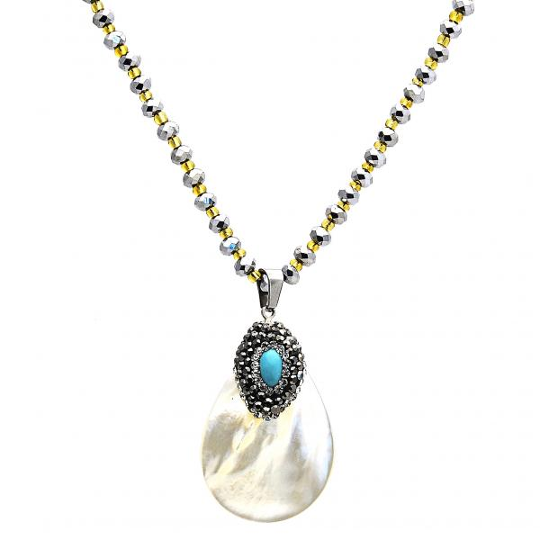 Stainless Steel 04.232.0006.31 Pendant Necklace, Teardrop Design, with Dark Brown Crystal and Blue Topaz Opal, Polished Finish, Steel Tone