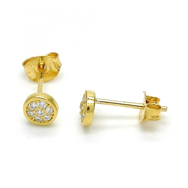 Sterling Silver 02.285.0045 Stud Earring, with White Cubic Zirconia, Polished Finish, Golden Tone