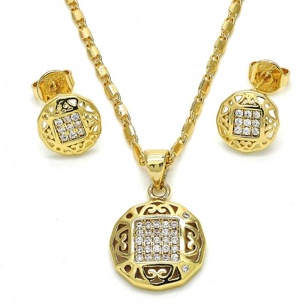 Gold Layered 10.166.0019 Earring and Pendant Adult Set, with White Micro Pave, Polished Finish, Golden Tone