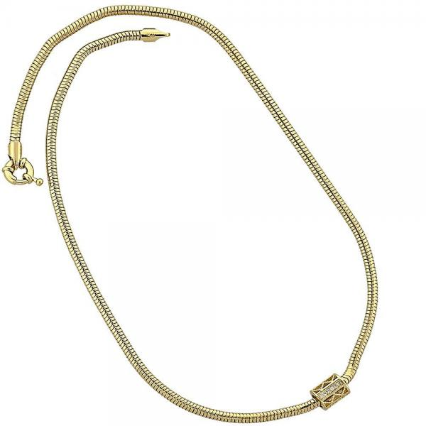 Gold Layered 04.63.0009 Pendant Necklace, Rat Tail Design, with White Micro Pave, Polished Finish, Golden Tone