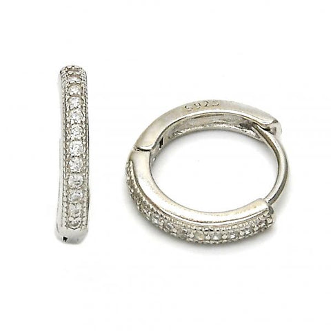 Sterling Silver 02.175.0065.15 Huggie Hoop, with White Micro Pave, Polished Finish, Rhodium Tone