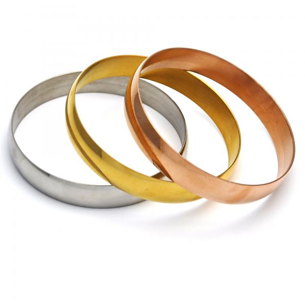 Stainless Steel 07.249.0002.06 Trio Bangle, Polished Finish, Tri Tone (12 MM Thickness, Size 6 - 2.75 Diameter)