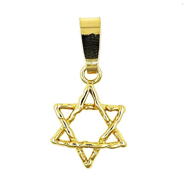Gold Layered 5.182.019 Religious Pendant, Star of David Design, Polished Finish, Golden Tone
