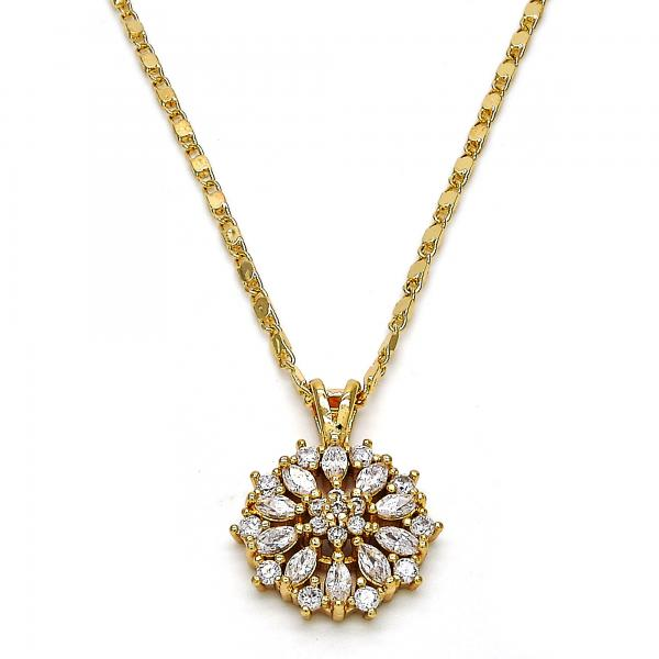 Gold Layered 04.213.0052.18 Fancy Necklace, Flower Design, with White Cubic Zirconia, Polished Finish, Golden Tone