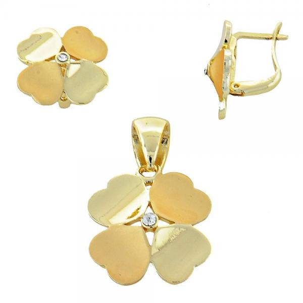 Gold Layered 10.59.0179 Earring and Pendant Adult Set, Flower Design, with White Crystal, Polished Finish, Golden Tone