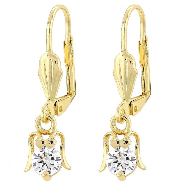 Gold Layered Dangle Earring, Ladybug Design, with Cubic Zirconia, Golden Tone