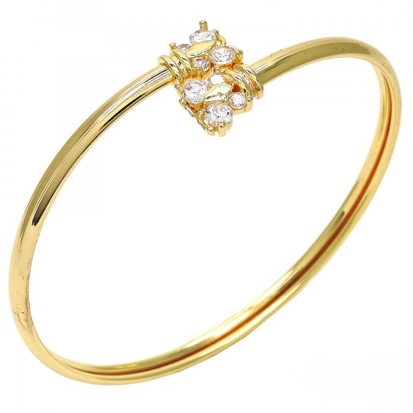 Gold Layered Individual Bangle, Butterfly Design, with Cubic Zirconia, Golden Tone