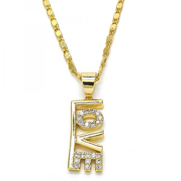 Gold Layered 04.166.0003.18 Fancy Necklace, Love Design, with White Cubic Zirconia, Polished Finish, Golden Tone