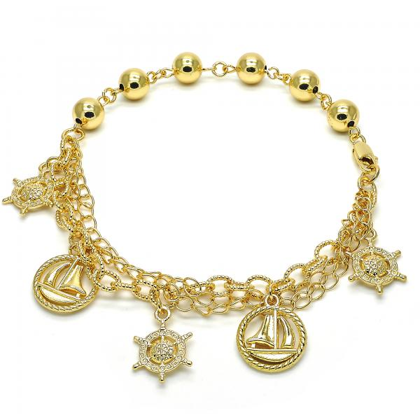 Gold Layered 03.179.0046.10 Charm Anklet , Polished Finish, Golden Tone