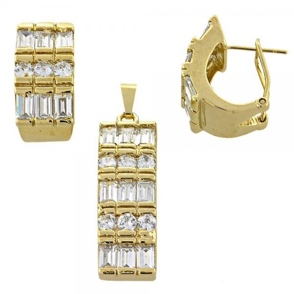 Gold Layered 5.054.005 Earring and Pendant Adult Set, with  Cubic Zirconia, Golden Tone