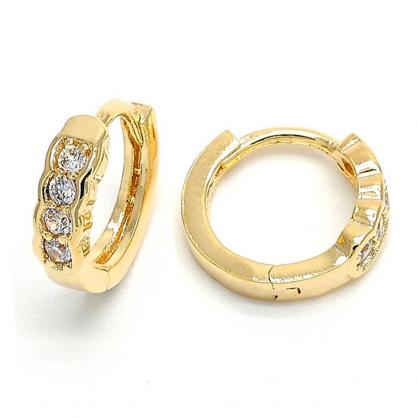 Gold Layered 02.156.0084 Huggie Hoop, with White Cubic Zirconia, Polished Finish, Golden Tone