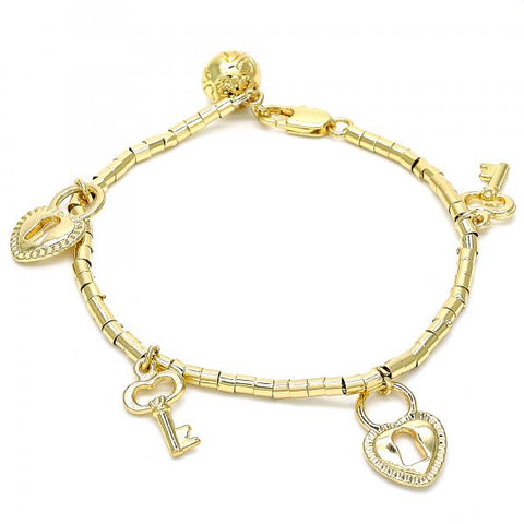 Gold Layered 03.179.0029.07 Charm Bracelet, Lock and key Design, Polished Finish, Golden Tone