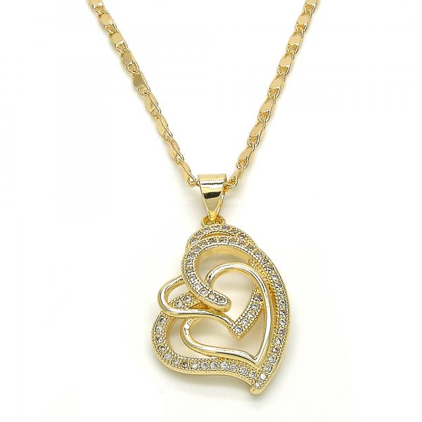 Gold Layered 04.195.0028.20 Fancy Necklace, Heart Design, with White Micro Pave, Polished Finish, Golden Tone