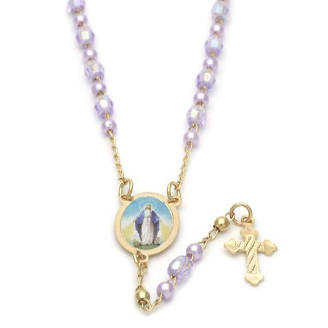 Gold Layered 09.02.0022.18 Thin Rosary, Medalla Milagrosa and Cross Design, with Lavender Opal, Polished Finish, Golden Tone
