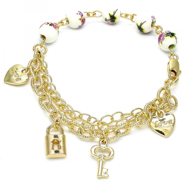 Gold Layered 03.179.0056.07 Charm Bracelet, Heart and key Design, Polished Finish, Golden Tone